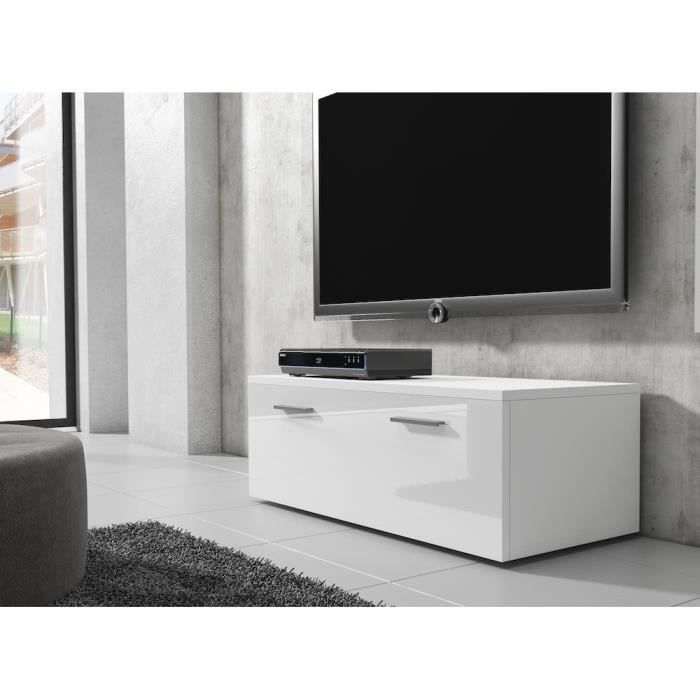 Boston meuble tv contemporain d cor blanc 100 cm achat for Meuble tv de 100 cm