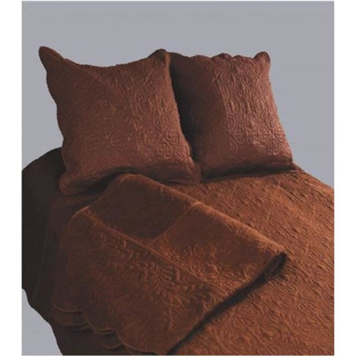 couvre lit boutis 2 places uni choco marron achat. Black Bedroom Furniture Sets. Home Design Ideas