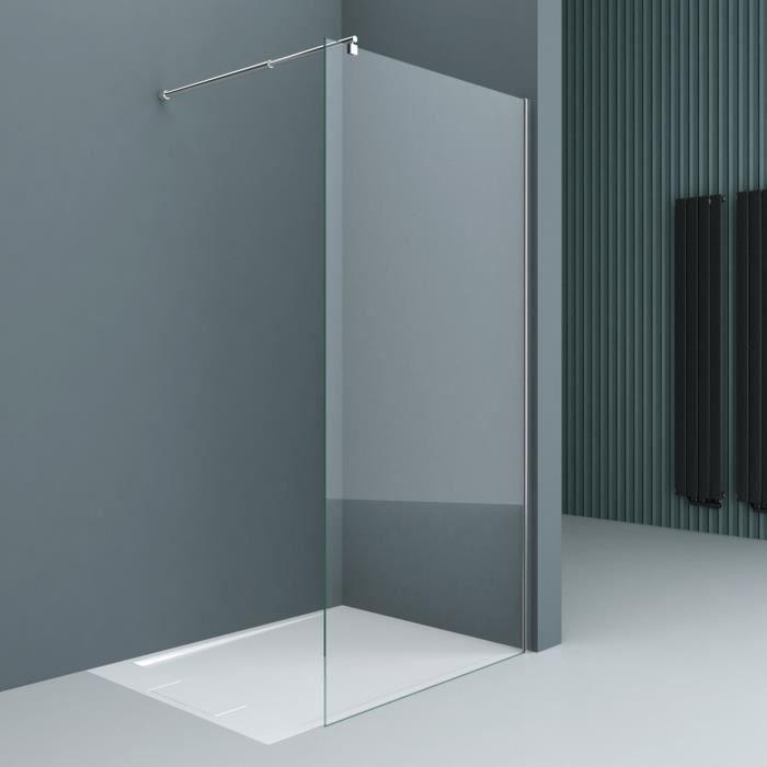 Paroi de douche pare douche verre de securite 10mm barre de stabilisation rectangulaire douche a l italienne Bremen 2S 140x200