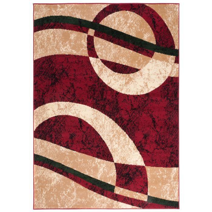 TAPISO Dream Tapis de Salon Chambre Moderne Rouge Beige Abstrait Cercles  Vagues 160 x 220 cm