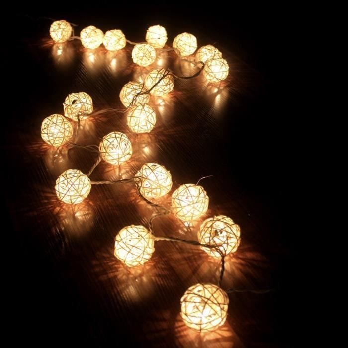 20 led guirlande guirlandes lumineuses batterie rotin pour nolmariagepatrydecoration maison environ 20m 3 xaa piles dresstells - Guirlande Lumineuse A Pile Mariage
