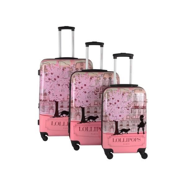 bagage lollipops lot de 3 valise 4 roues rose rose. Black Bedroom Furniture Sets. Home Design Ideas