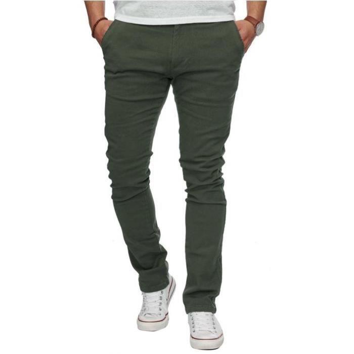 Pantalon chino pas cher vert olive Vert - Achat / Vente pantalon - Cdiscount