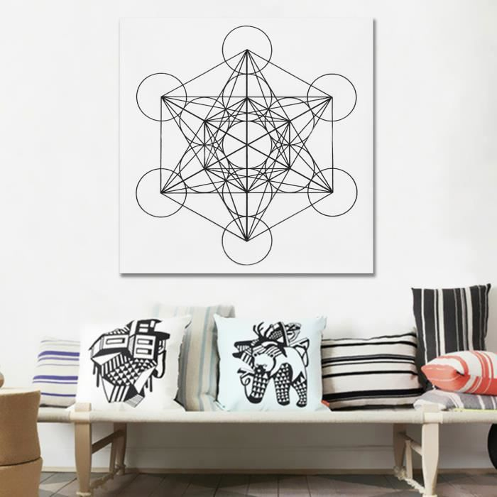 NEUFU Tissu Tableau Fleur de vie Metatron Cube Triangle Chakra Géométrie Sacré 50x50cm Metatron ...