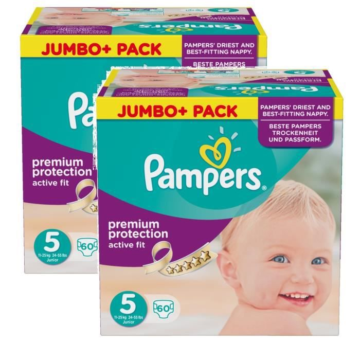 Pampers active fit taille 5 junior 11 25kg jumbo plus pack 120 couches achat vente couche - Couches pampers active fit taille 5 ...