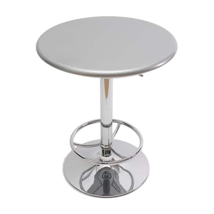 Table bar coloris argent hauteur r glable diam achat for Achat table bar