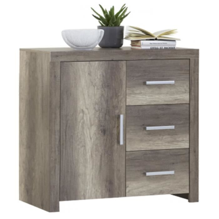 commode avec 3 tiroirs et une porte coloris ch ne fonc l 95 x h 95 5 x p 42 cm achat vente. Black Bedroom Furniture Sets. Home Design Ideas