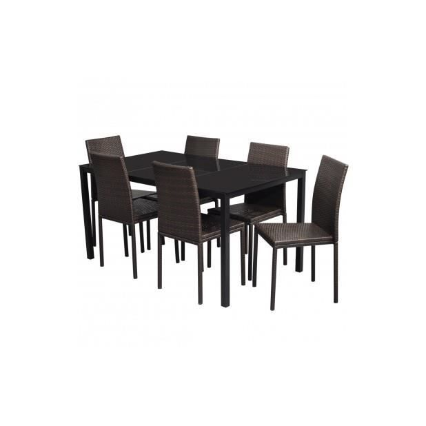 Superbe 1 table manger en rotin lot de 6 chaises marron for Table a manger en rotin