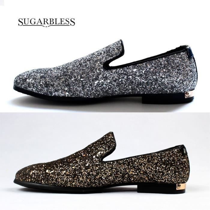 Angleterre Paillettes Nightclub Tide Mocassins Chaussures Hommes