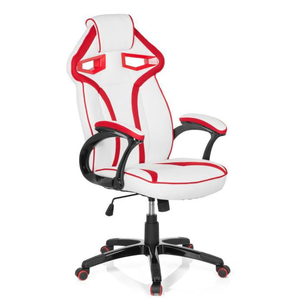 chaise gaming chaise de bureau guardian pu blanc rouge hjh office achat vente chaise de. Black Bedroom Furniture Sets. Home Design Ideas