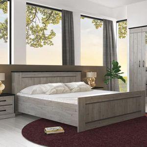 STRUCTURE DE LIT Lit 160 cm couleur bois gris contemporain MORGANE