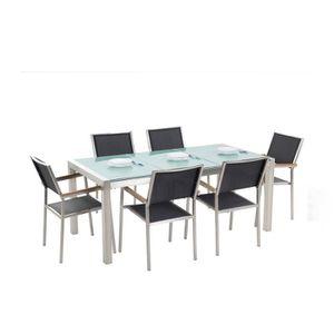SALON DE JARDIN  Set de jardin plateau en verre et 6 chaises noires