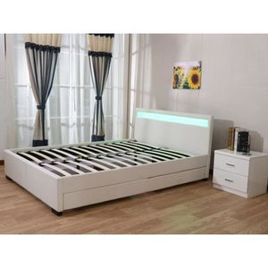lit double led achat vente lit double led pas cher cdiscount. Black Bedroom Furniture Sets. Home Design Ideas