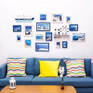 CADRE PHOTO Lot de 17 Cadre Photo Déco Murale Bleu+Blanc
