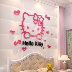 OBJET DÉCORATION MURALE MALKRIS®3D Hello kitty diy mur des autocollants po