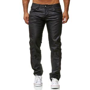 Hommes Coated Denim Pantalon noir brillant Coupe Slim Fit Jeans brillant Casual