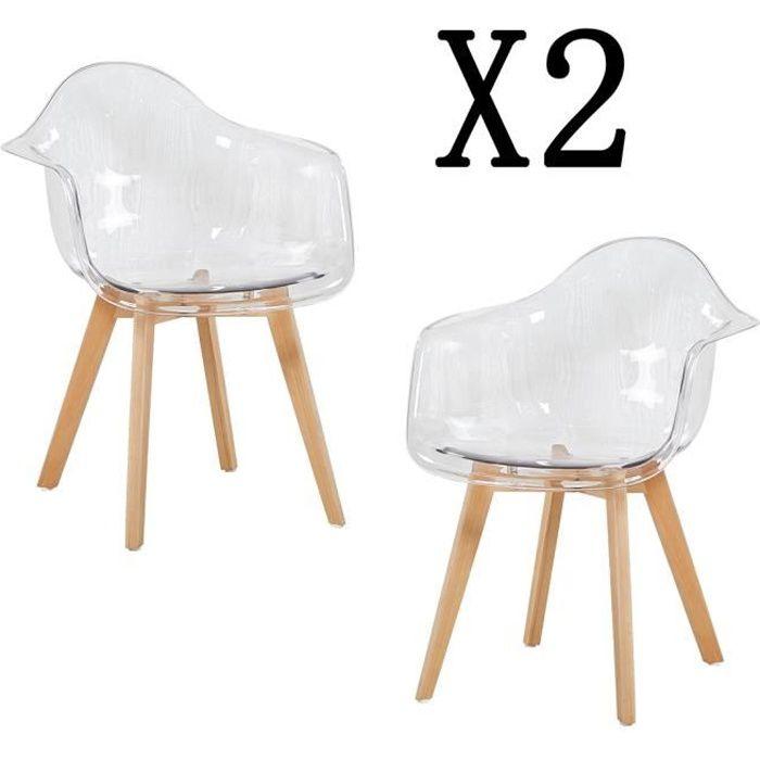 HJ STORE Lot de 2 Transparente Fauteuils Chaise de Salle à Manger Scandinave Chaise Chaise de Bureau 60*63*81cm