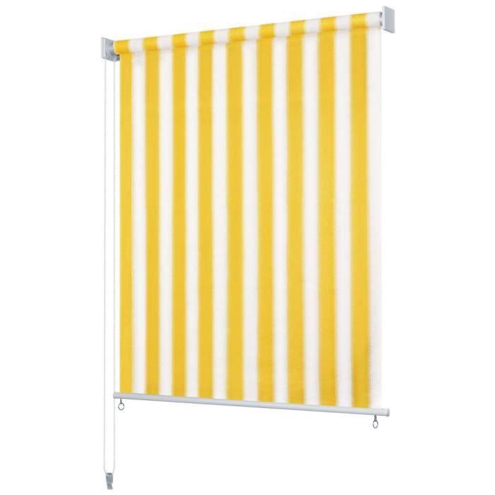HENGL Store roulant d'extérieur 100x140 cm Rayures jaunes et blanches