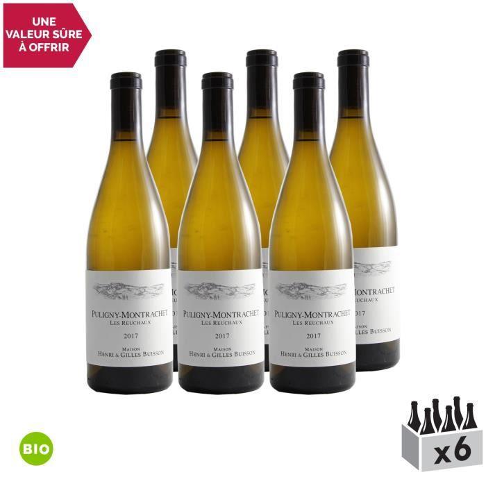 Puligny-Montrachet Les Reuchaux Blanc 2017 - Bio - Lot de 6x75cl - Domaine Henri et Gilles Buisson - Vin AOC Blanc de Bourgogne -