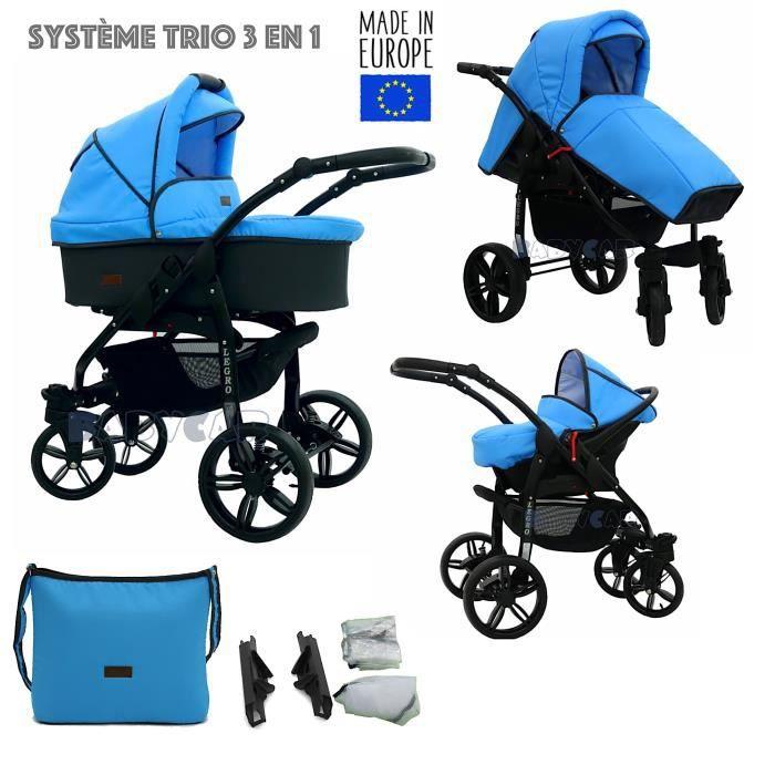 Noir-Bleu LEGRO Trio Poussette - Landau 3en1 Combinée avec siège auto, ROUES PIVOTANTES - B