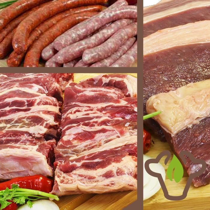Un colis de viande Fraiche de boeuf 7 kg pour barbecue (morceaux de viande bovine) emballé sous vide produit Frais