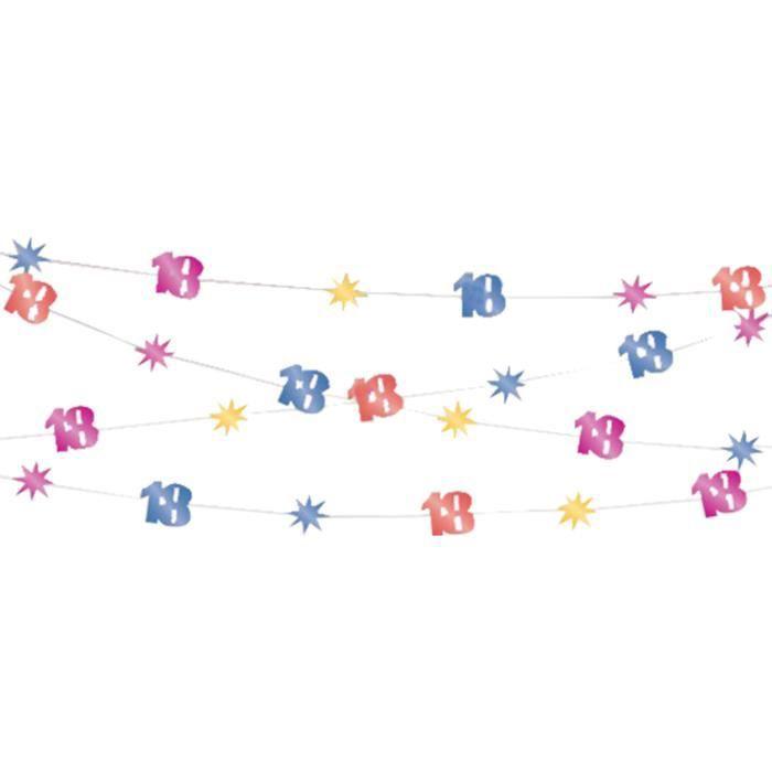 Lot de 12 - Guirlande âges 30,5 m - Age 60 ans - Décoration et accessoires de fête, animation festive, anniversaire, mariage,
