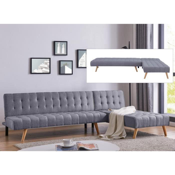 Canapé angle modulable et convertible en tissu gris Rama