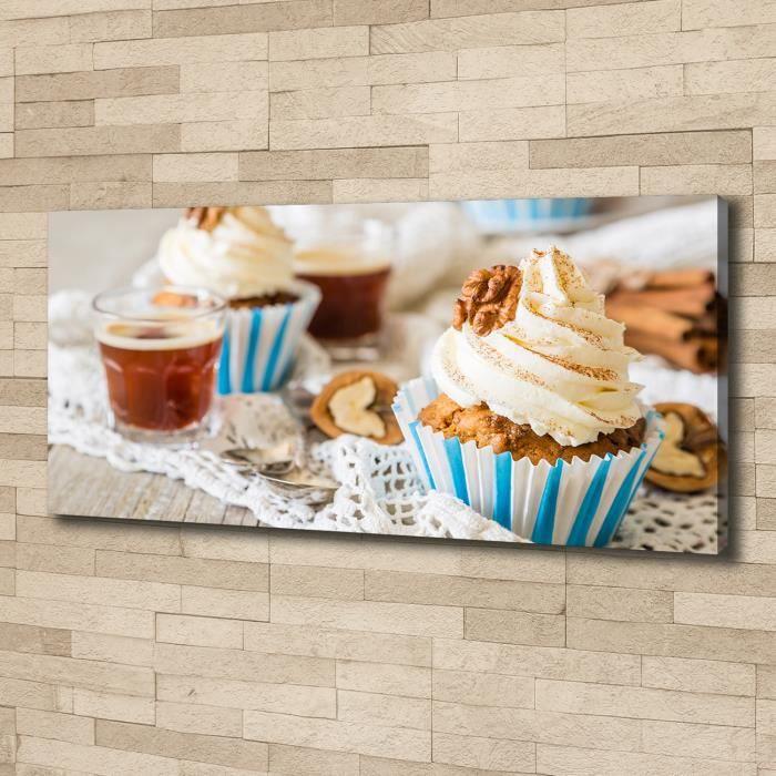 Tulup 125x50 cm art mural - Image sur toile:- Nourriture boissons - Muffins - Multicolore Mixte