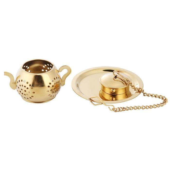 Infuseur à thé en acier inoxydable doré, sphère en maille, filtre à herbes et épices, diffuseur pour théière, [7F77C4B]