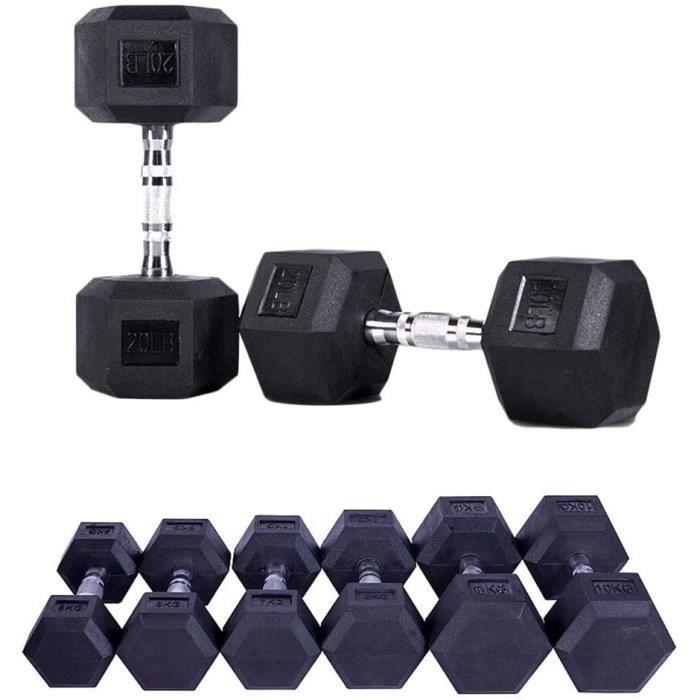 BARRE - HALTERE - POIDS Caoutchouc Hex Halt&egraveres 1 Pc - 2,5 Kg &Agrave 15 Kg Home Gym Fitness Exercice Entra&icircneme28