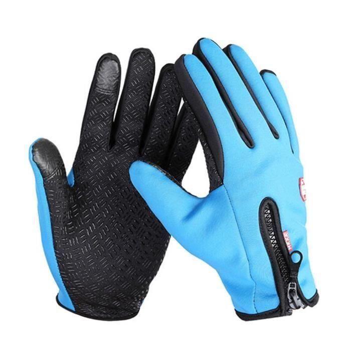 Gants moto vélo imperméable chaud conduire gants pour hommes et femmes bleu M L68026