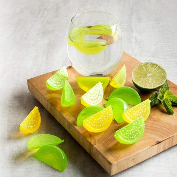 Fishbowl Glaçons réutilisables, bocal, Citron et citron vert, Lot de 12