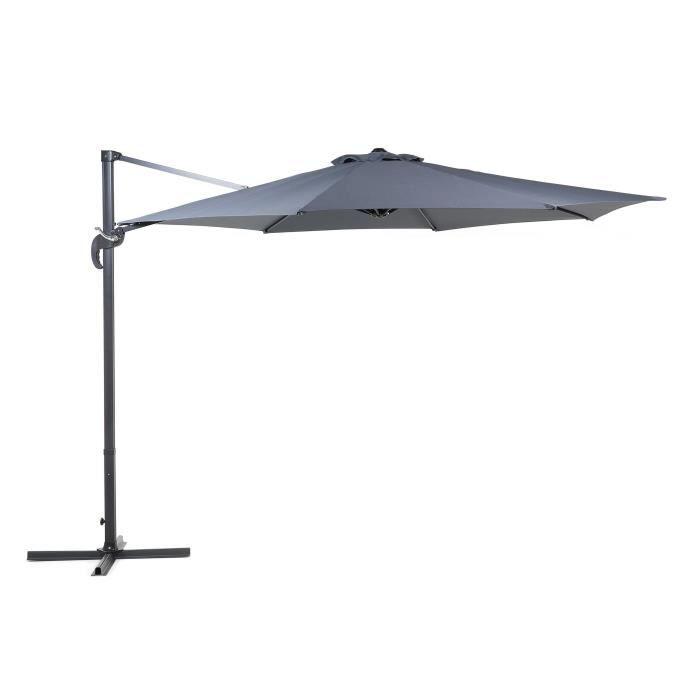 Beliani - Grand parasol de jardin gris anthracite Ø 300 cm SAVONA