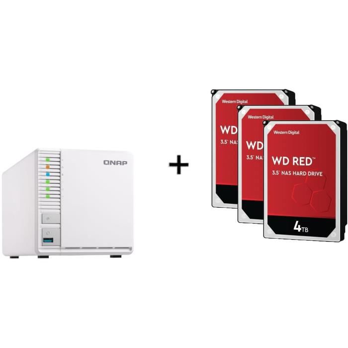 QNAP - Serveur de Stockage (NAS) - TS-328 - 3 Baies + WD Red™ - 3 Disque dur Interne NAS - 4To - 5 400 tr/min - 3.5- (WD40EFAX)