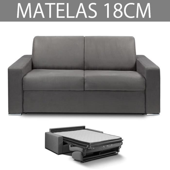 Canapé convertible EXPRESS 2/3 places en microfibre gris graphite - Couchage 120cm - Epaisseur matelas 18cm - MASTER