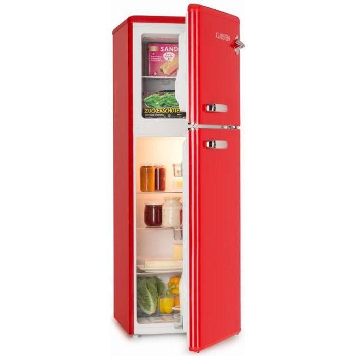 Klarstein Audrey Réfrigérateur classique avec congélateur haut : 136 Litres (97L + 39L) - 41 db - classe A+ - look rétro rouge