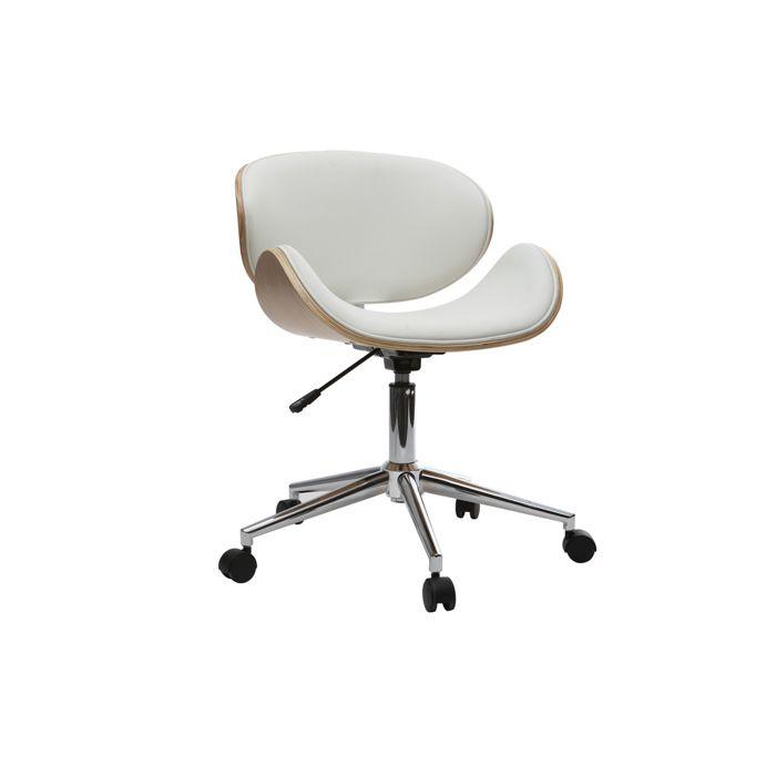 Miliboo - Chaise de bureau design blanc et bois clair WALNUT