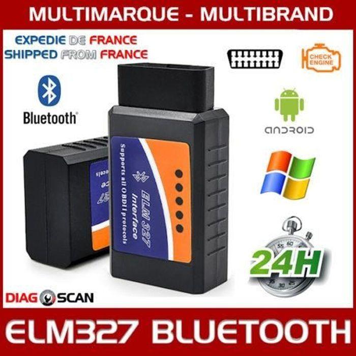 Interface / Valise Diagnostic Auto - ELM327 OBD2 BLUETOOTH - Diagnostique Multimarques - Lecture Eff