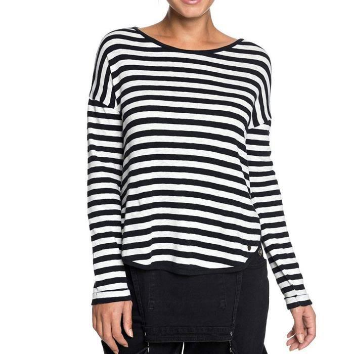 T-shirt manches longues noir/blanc Femme Roxy