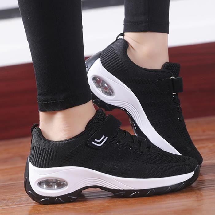chaussure de securite Femmes Mesh Running Rock Chaussures Compensées Coussin Sport Chaussures Décontractées Baskets