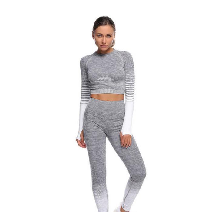 SURVETEMENT Femme - Haut de vêtements de yoga à séchage rapide Gradient Sports - Blanc GT™