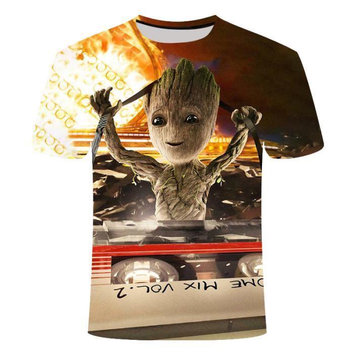 T-shirts Hommes-Femmes,T-shirt homme, femme, pot de fleurs, super hero Groot, film guardian de la galaxie, imprimé en 3D
