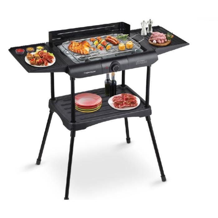 THOMSON THBB66368 - Barbecue Electrique sur pieds - 2000 W - Gril détachable - Sécurité Anti-surchauffe