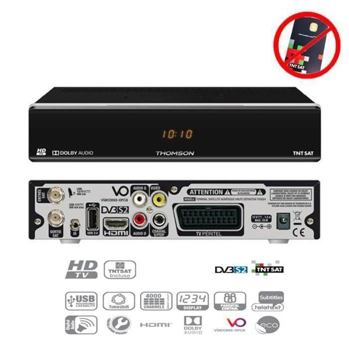 THOMSON THS 804 DÉCODEUR SATELLITE TNTSAT HD (VENDU SANS CARTE TNTSAT, SUR ASTRA 19.2°)