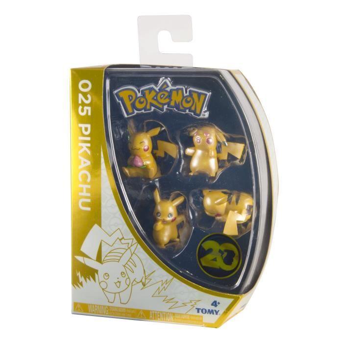TOMY T18726 - Coffret exclusif - 20 ans - 4 figurines de Pikachu
