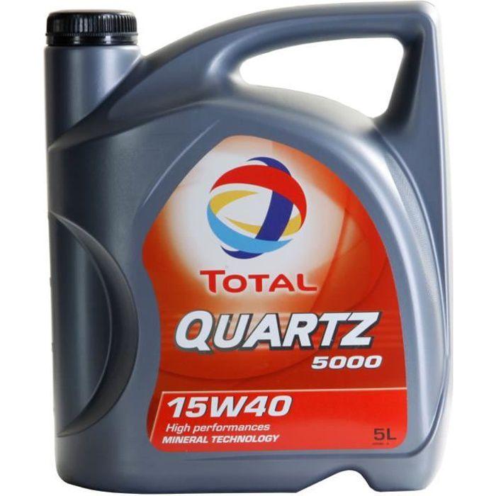 Huile moteur Total QUARTZ 5000 15W-40 5 Litres Jerrycans