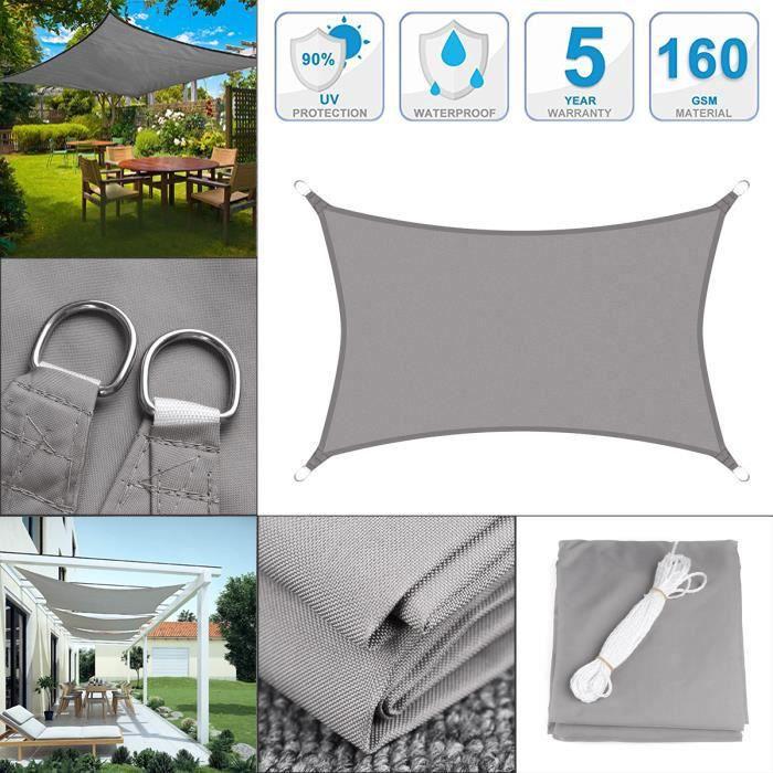 3Mx5M Voile d'ombrage Imperméable Rectangulaire Anti-UV pour Jardin Terrasse