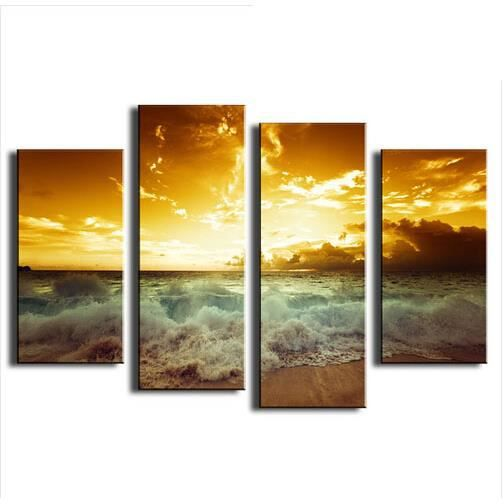 4 pcs d corer peinture l 39 huile de la mer en toile vague imprimer wall art pictures cadeau. Black Bedroom Furniture Sets. Home Design Ideas