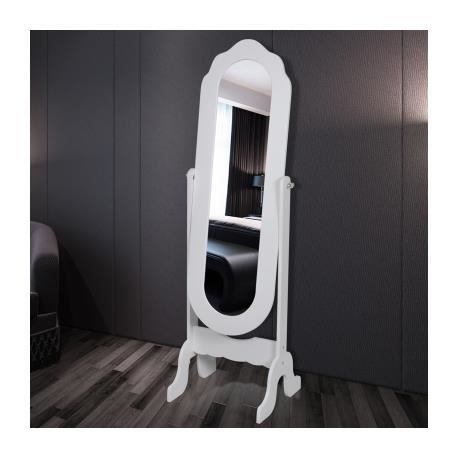 miroir en pied blanc pivotant achat vente miroir mdf cdiscount. Black Bedroom Furniture Sets. Home Design Ideas