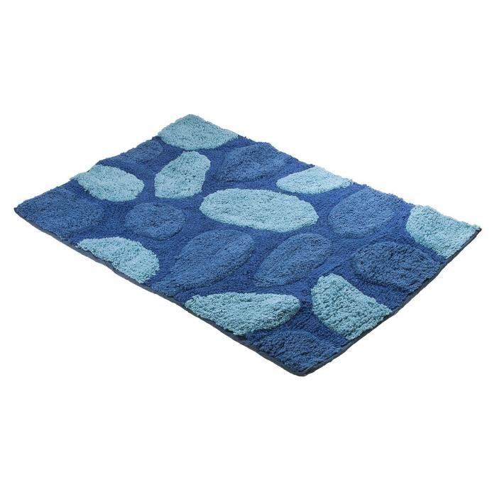 tapis de bains coton galets bleu 50 x 80 cm achat. Black Bedroom Furniture Sets. Home Design Ideas